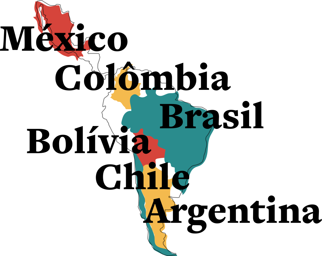 México, Colômbia, Brasil, Bolívia, Chile e Argentina
