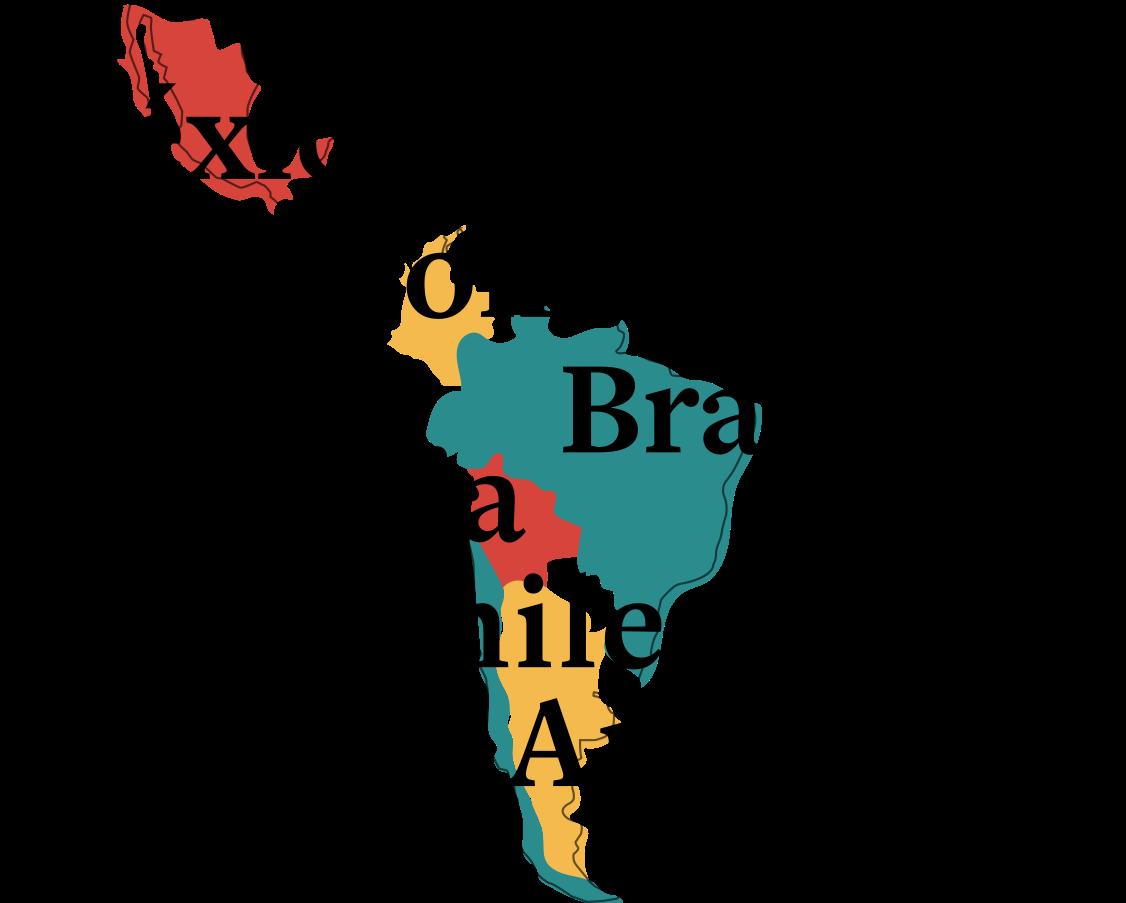 México, Colombia, Brasil, Bolivia, Chile e Argentina